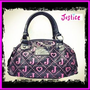 Justice Hot Pink & Black Leather Heart Purse